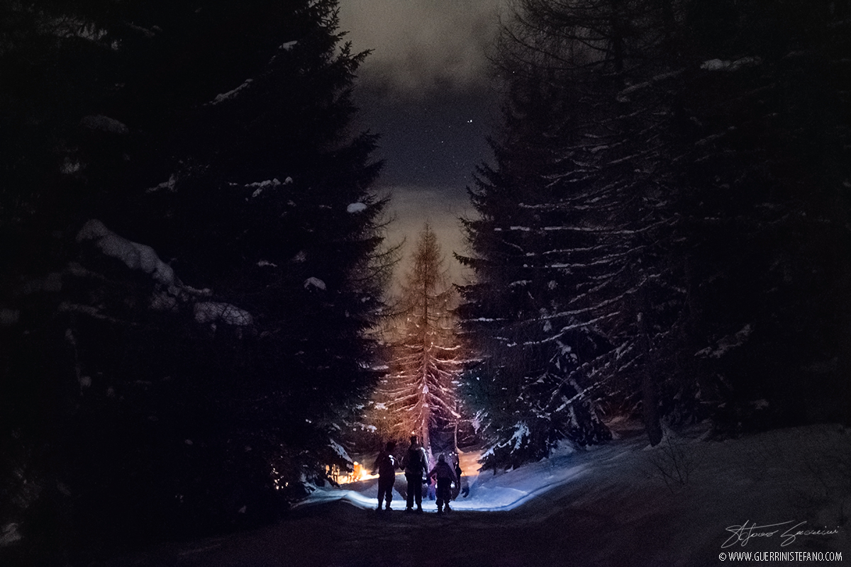Snowshoes night by Guerrini Stefano