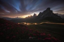 Giau Pass light trails Guerrini Stefano