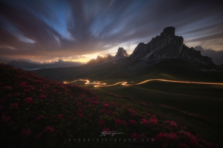 Giau Pass light trails Guerrini Stefano